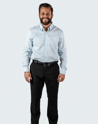 Camisa Masculina Maquinetada Uniforme | Azul Claro