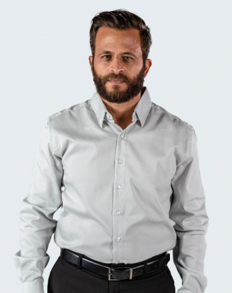 Camisa Masculina Maquinetada Uniforme | Cinza Claro