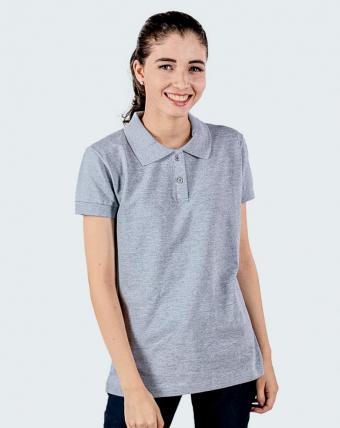 Camisa Pólo Feminina Uniforme   Cinza Mescla