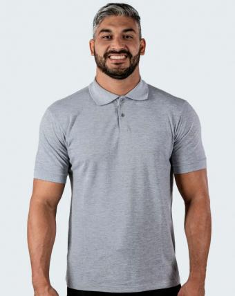 Camisa Pólo Masculina Uniforme   Cinza Mescla