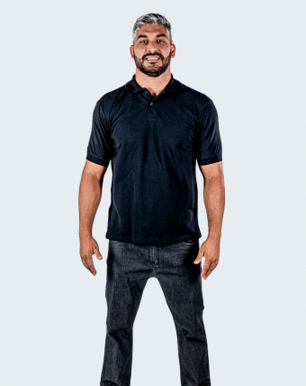 Camisa Pólo Masculina Uniforme   Preto