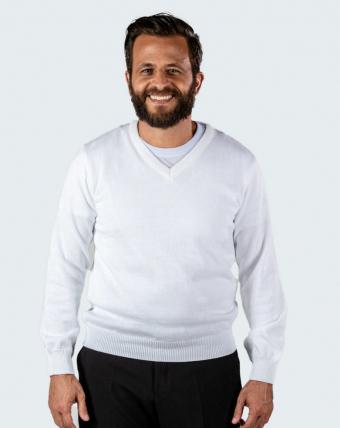 Pulóver Masculino Decote V Uniforme | Branco