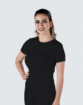 T-Shirt Feminina Decote Careca Uniforme   Preto