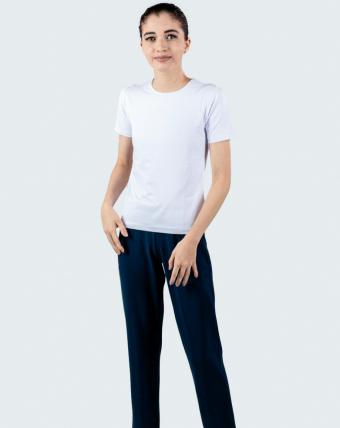 T-Shirt Feminina Decote Careca Uniforme   Branco