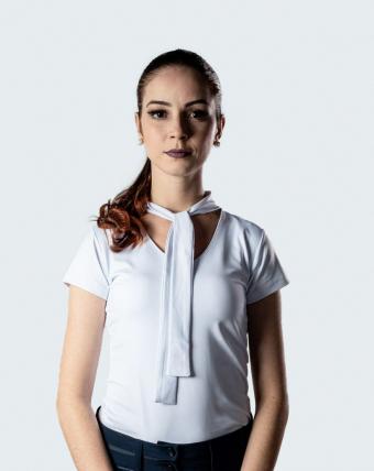 T-Shirt Feminina Laço Uniforme   Branco