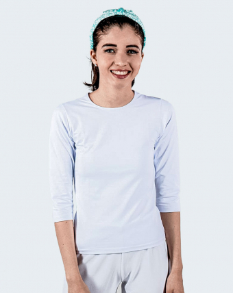 T-Shirt Feminina Manga 3/4 Uniforme   Branco