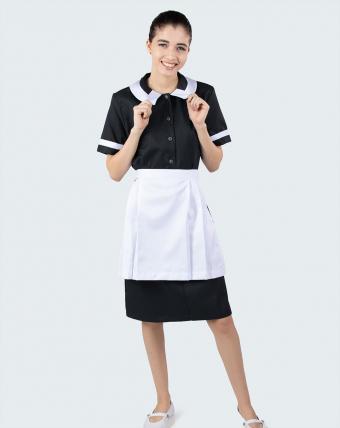 Vestido de Manga Curta Uniforme   Preto