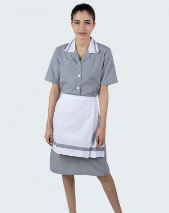 Vestido Gola Tradicional Uniforme   Xadrez Preto